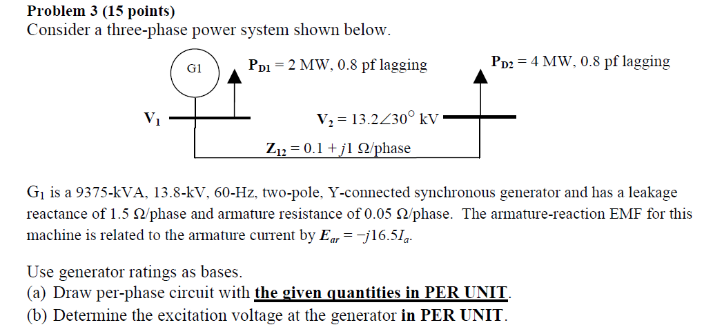 Consider a three-phase power system shown below.