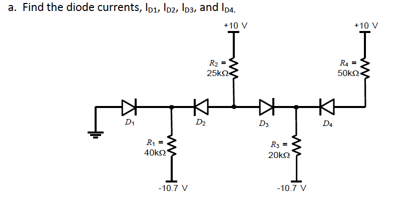 Find the diode currents, ID1, Id2, Id3, and ID4.