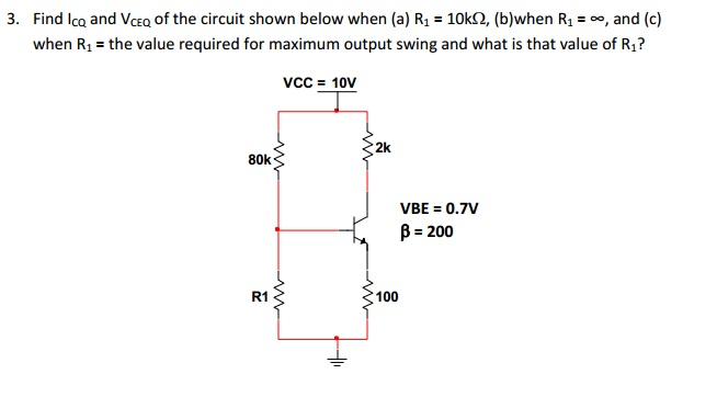 Find lCQ and VCEQ of the circuit shown below when