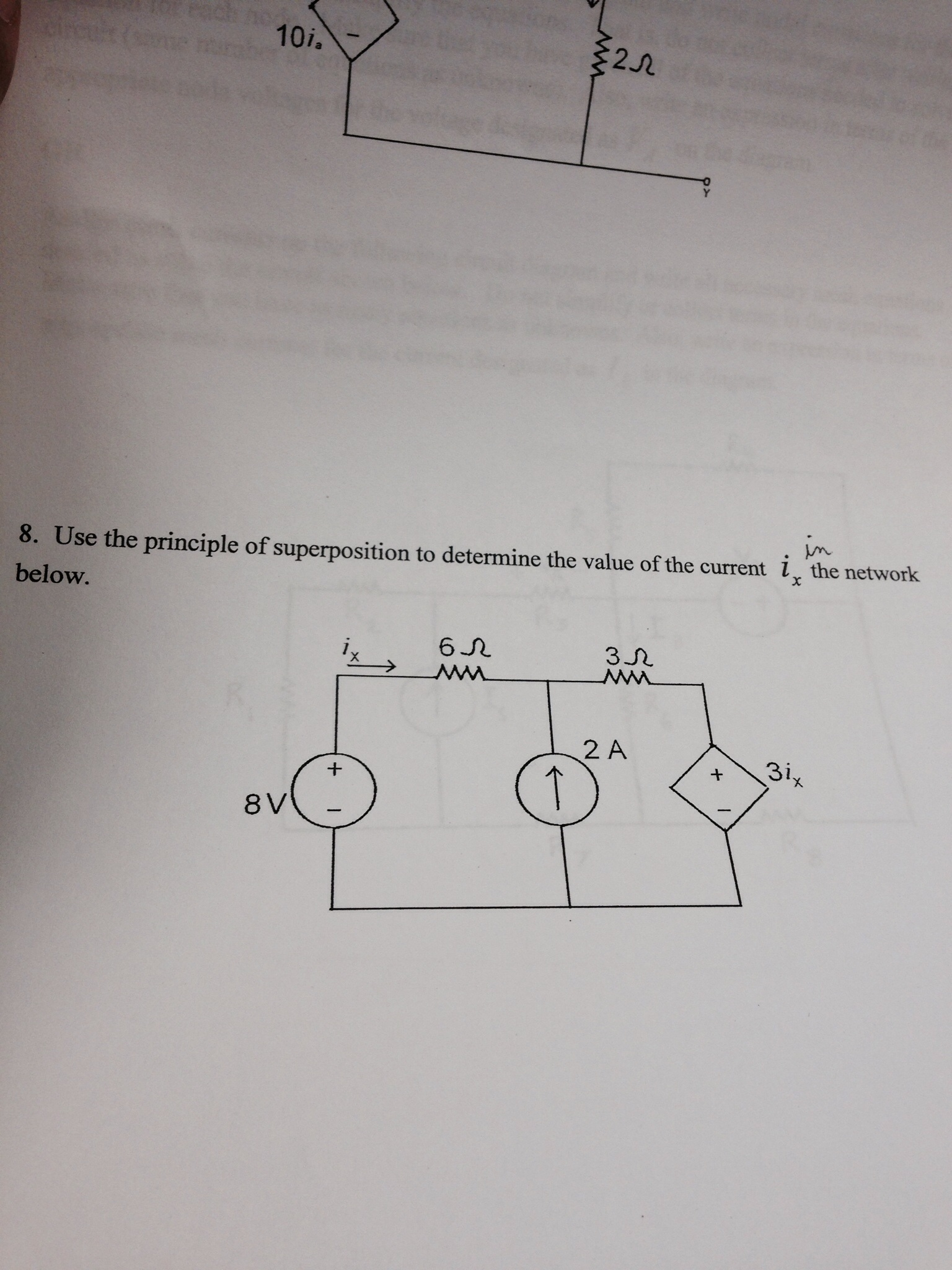 Use the principle of superposition to determine th