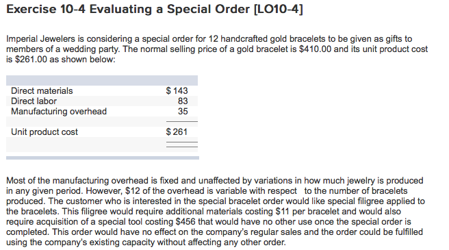 Exercise 10 4 Evaluating A Special Order LO10 Imperial Jewelers Is