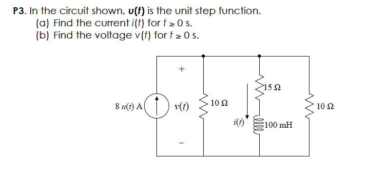 In the circuit shown u(t) is the unit step functio