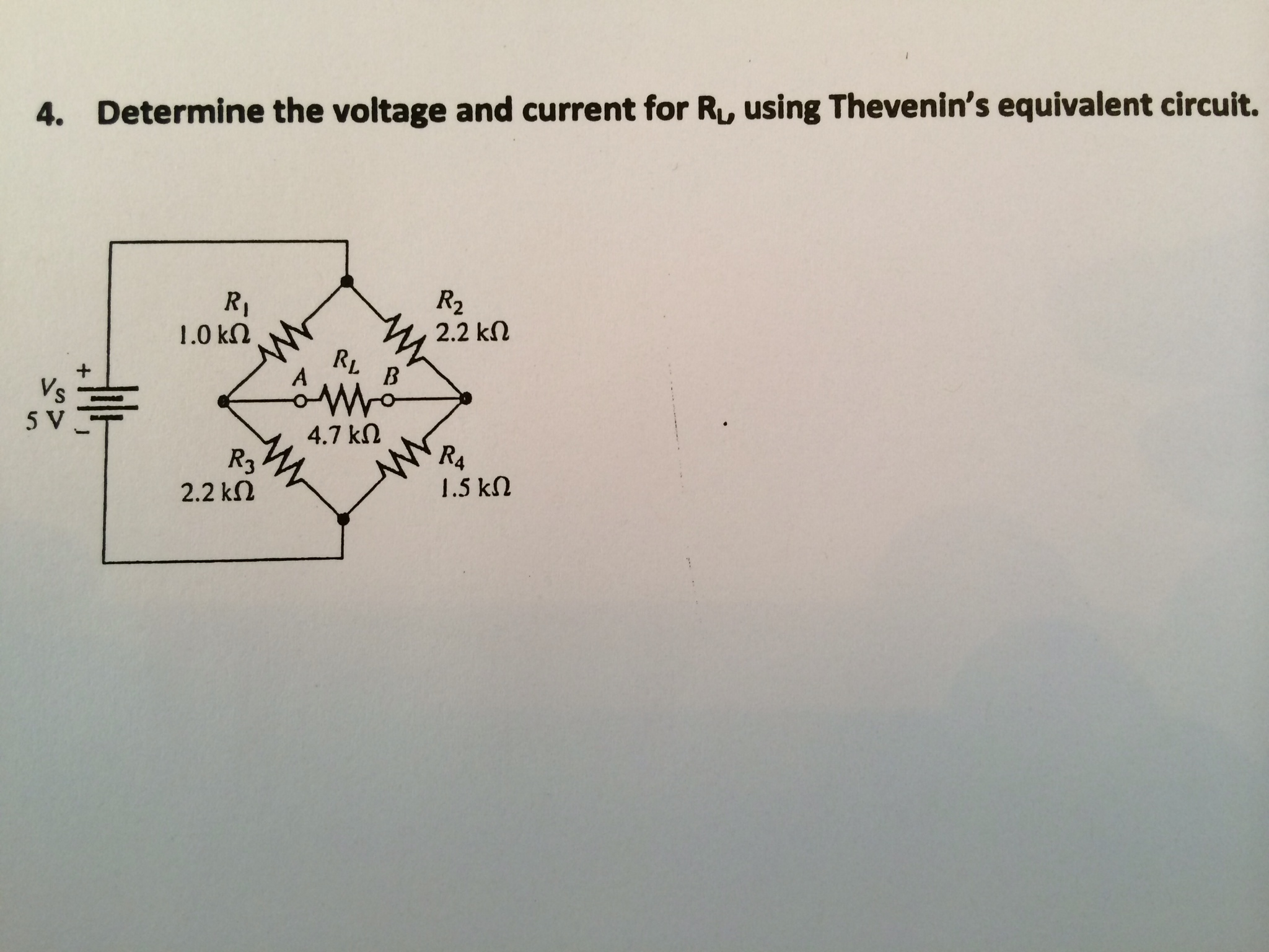 Determine the voltage and current for RL, using Th