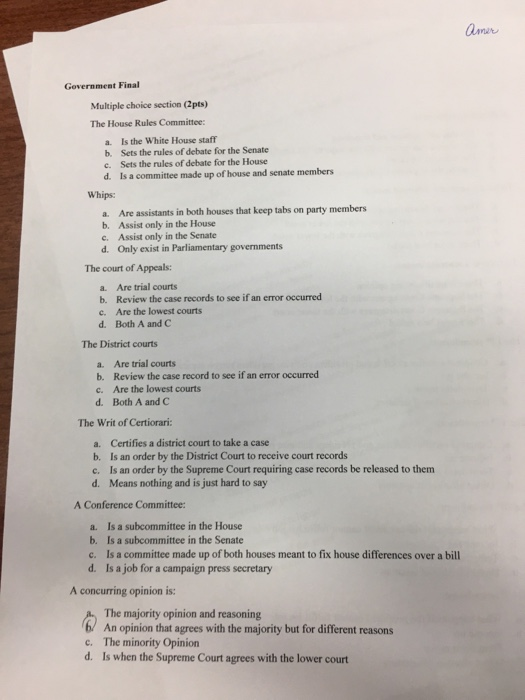 Multiple Choice Section The House Rules Committee
