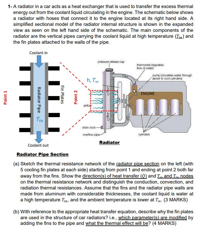 1- A Radiator In A Car Acts As A Heat Exchanger Th... | Chegg.com