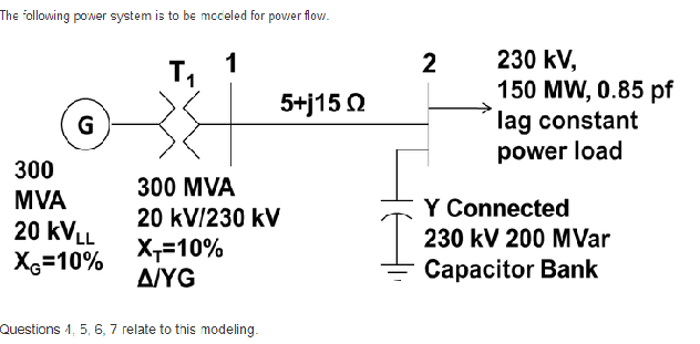 The following power system is to be modeled for po
