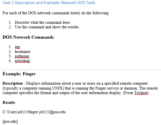 Solved Task 2 Description And Example Network Dos Tools