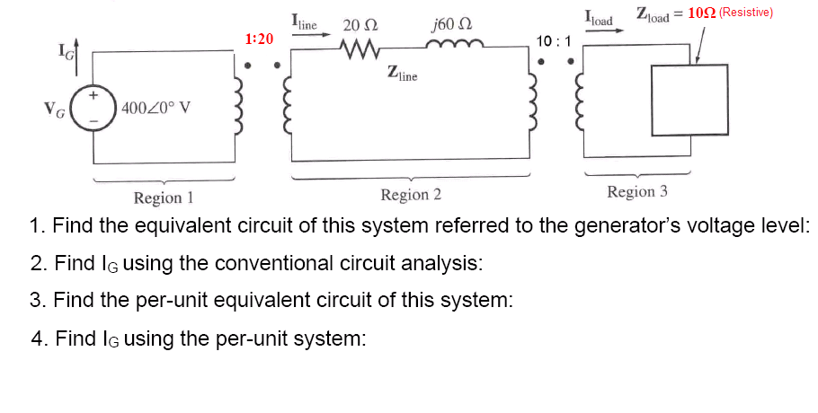 Find the equivalent circuit of this system referre