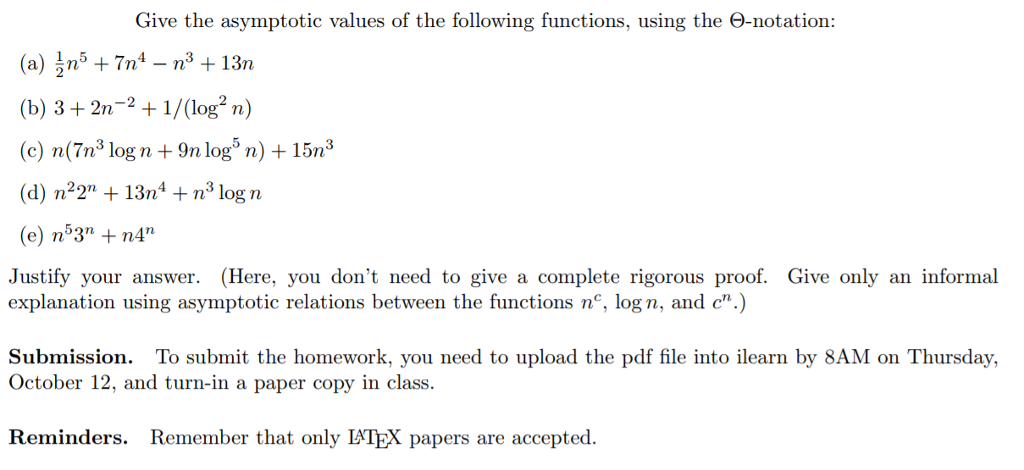 Give the asymptotic values of the following functi chegg give the asymptotic values of the following functions using the notation sciox Images