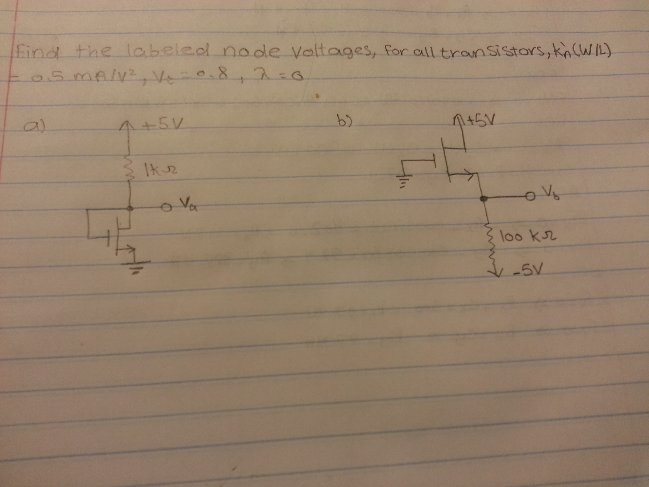 Find the labeled node voltages, for all transistor