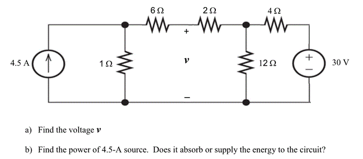 Find the voltage v. Find the power of 4.5-A sourc