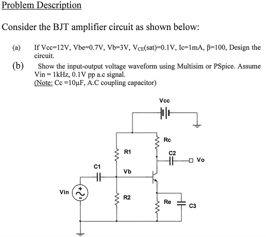Consider the BJT amplifier circuit as shown below: