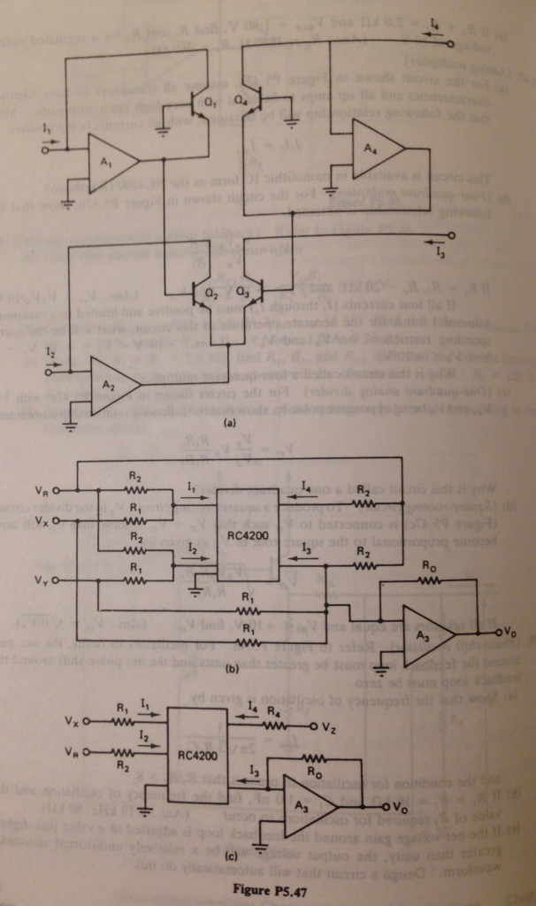(c) (One-quadrant analog divider) For the circuit