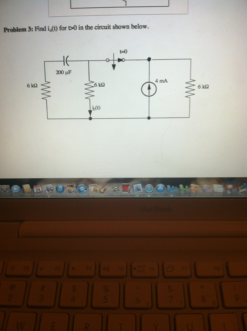Find i0(t) for t>0 in the circuit shown below.