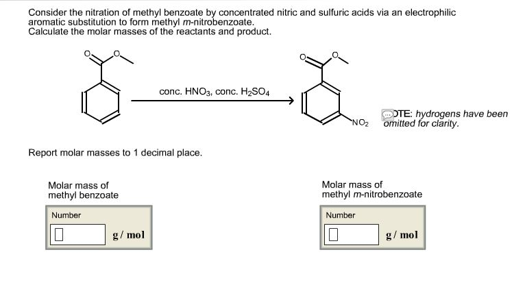 nitration of methyl benzoate report Nitration of methyl benzoate calculations - what is the theoretical yield and percent yield - eqt: methyl benzoate + hno 3-----(h 2 so 4 above arrow) methyl-m-nitrobenzoate + h 2 o.