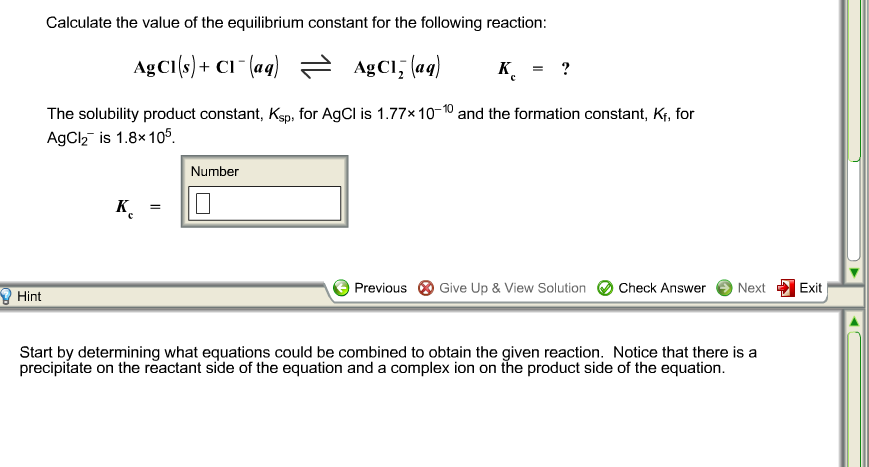 Calculate the value of the equilibrium constant fo