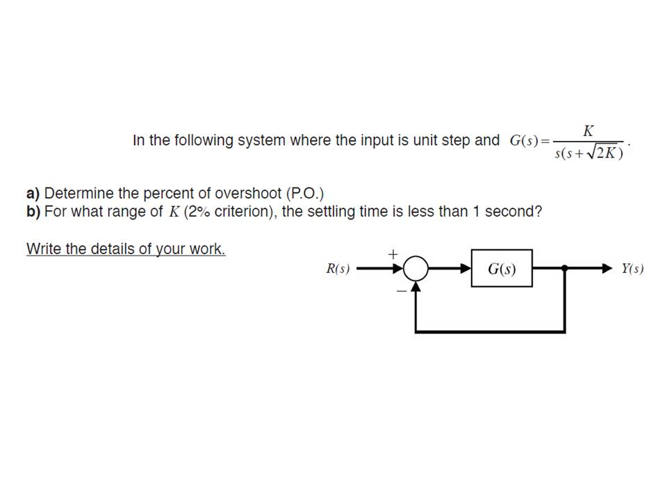 In the following system where the input is unit st