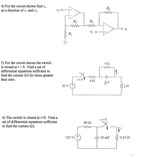 For the circuit shown find v0 as a function of v1