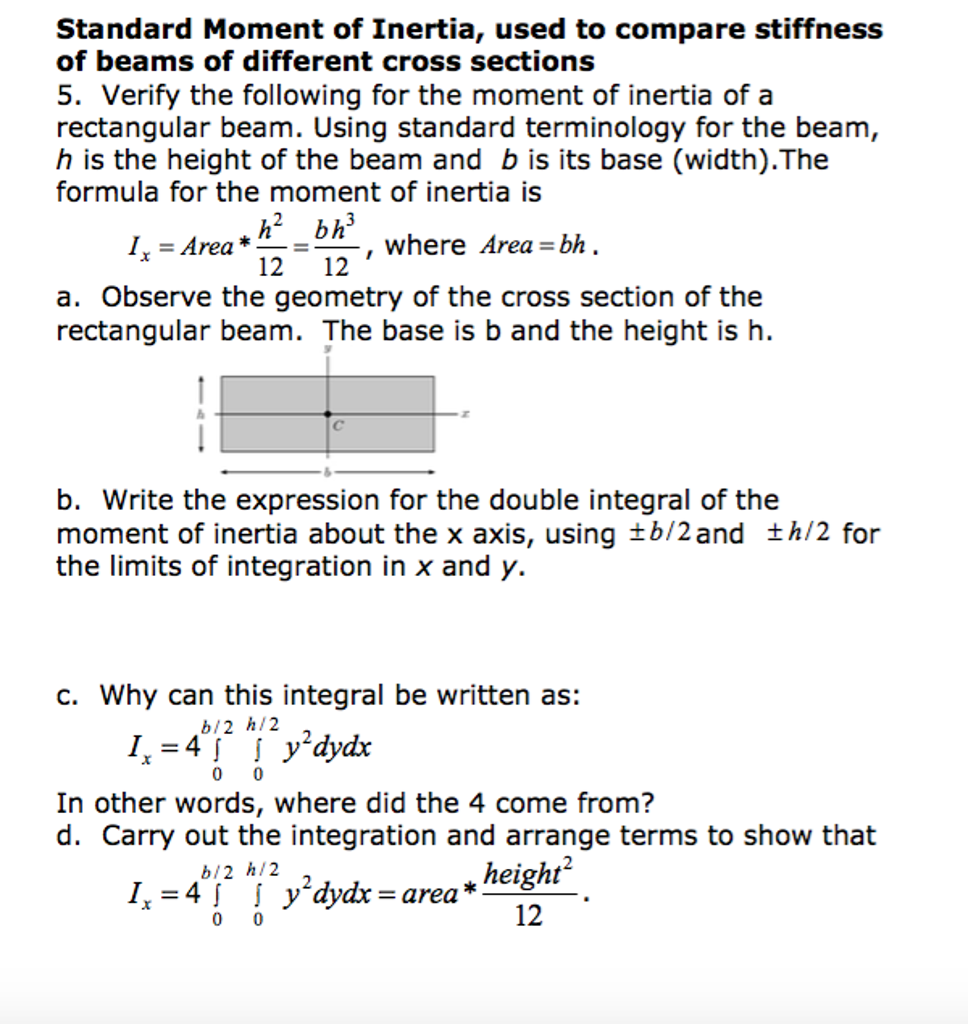Question: Standard Moment Of Inertia, Used Topare Stiffn Standard Moment Of  Inertia, Used