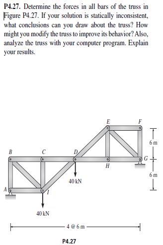 Determine the forces in all bars of the truss in F