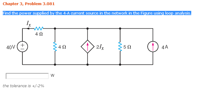 Find the power supplied by the 4-A current source