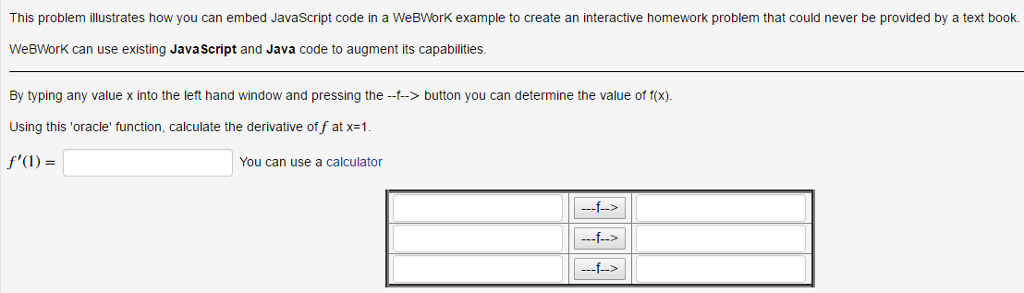 this problem illustrates how you can embed javascr com question this problem illustrates how you can embed javascript code in a webwork example to create an inte