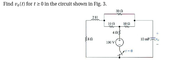 Find v0(t) for t 0 in the circuit shown in Fig. 3