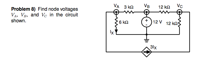 Find node voltages VA, VB and VC in the circuit sh