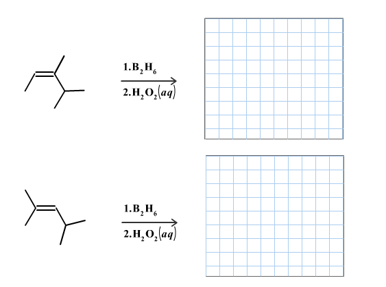 Draw the product(s) of the following hydroboration