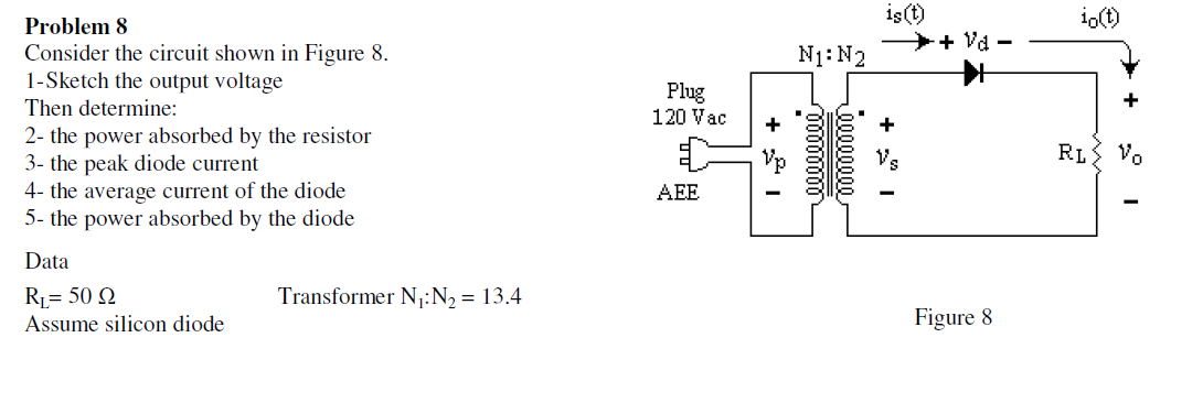 Consider the circuit shown in Figure 8. Sketch th