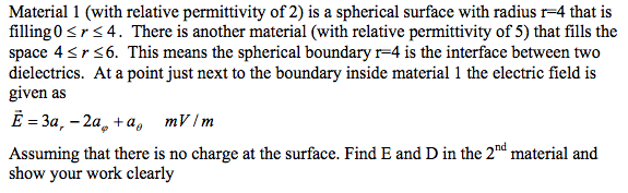 Material 1 (with relative permittivity of 2) is a
