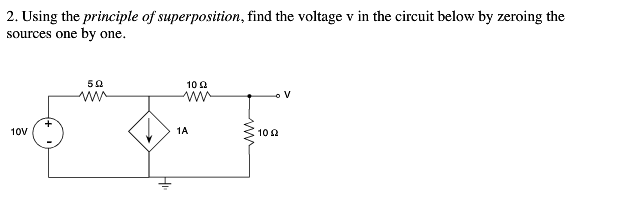 Using the principle of superposition, find the vol
