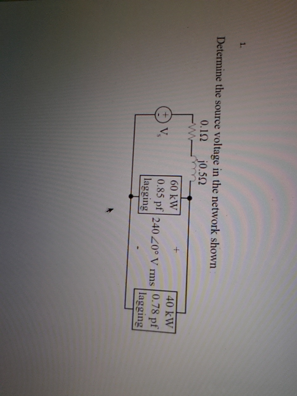 Determine the source voltage in the network shown