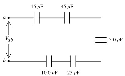 Five capacitors are connected across a potential d