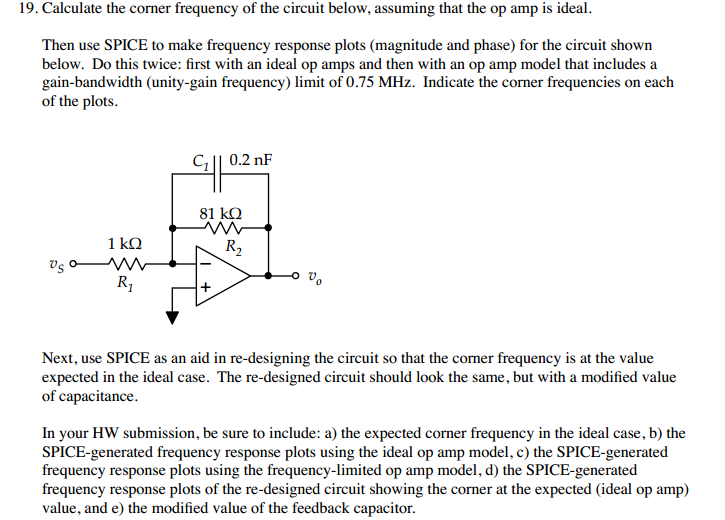 Calculate the comer frequency of the circuit below