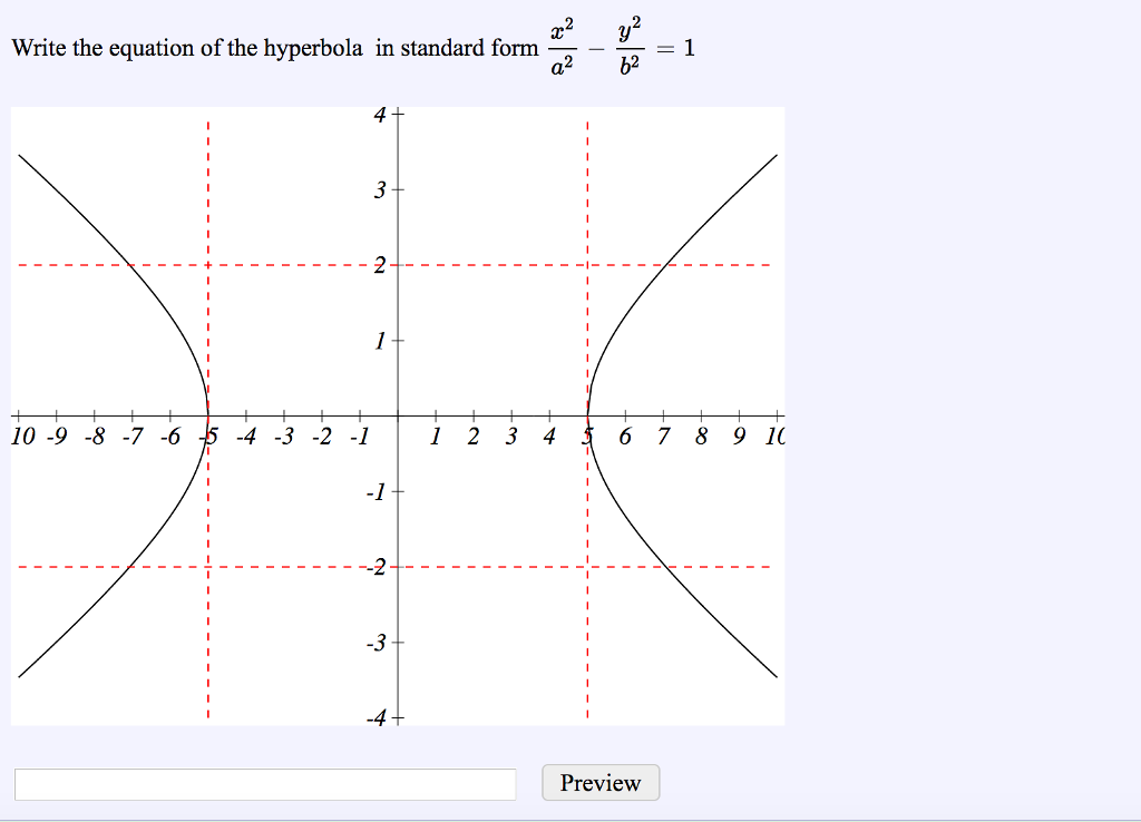 Solved Write The Equation Of The Hyperbola In Standard Fo