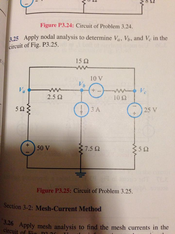 Figure P3.24: Circuit of Problem 3.24. Apply noda