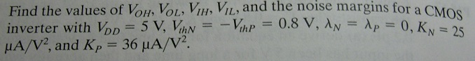 Find the values of VOH, VOL, VIH, VIL, and the noi