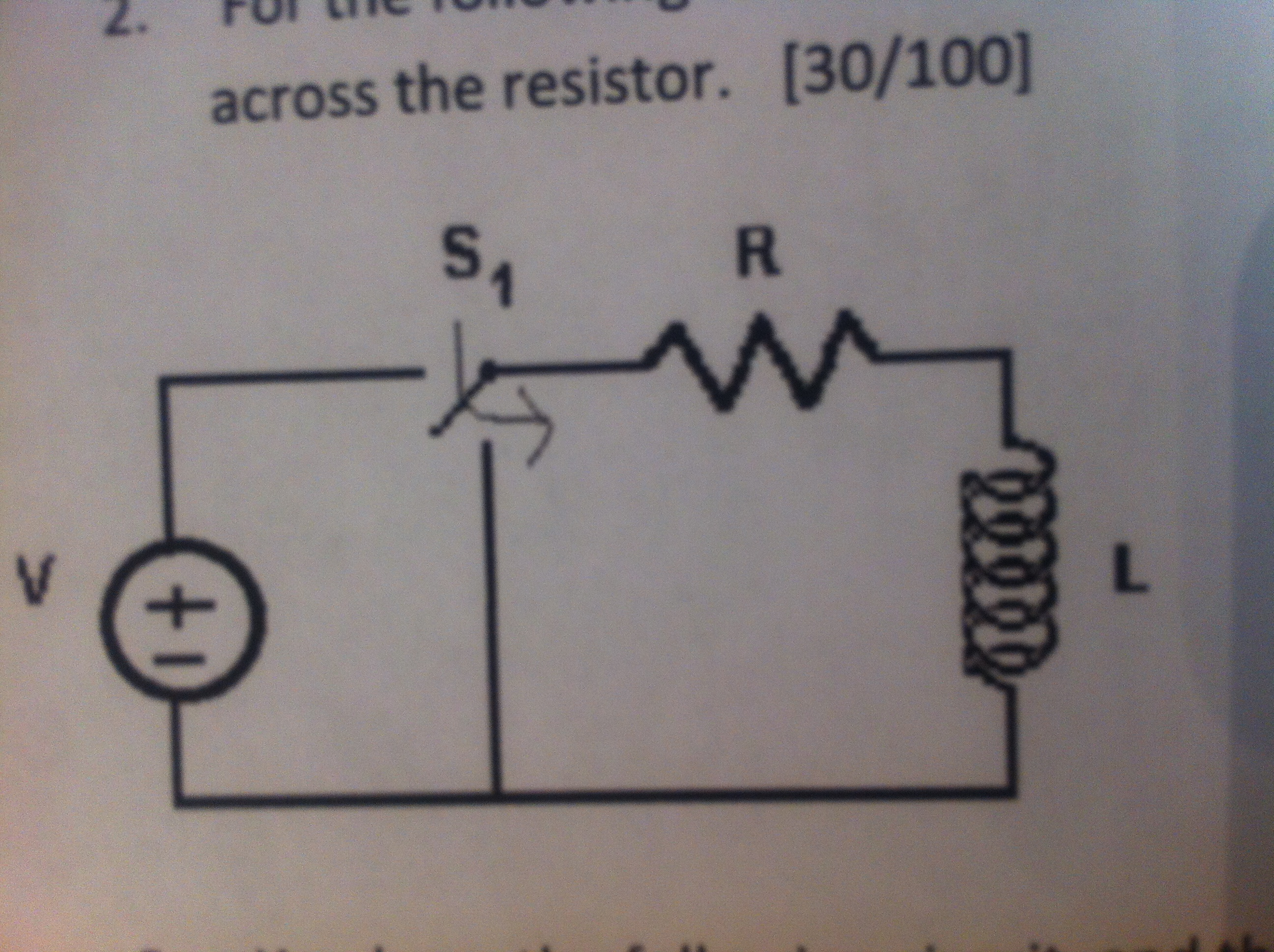 For the following circuit, S1 closes at t=0. L = 2