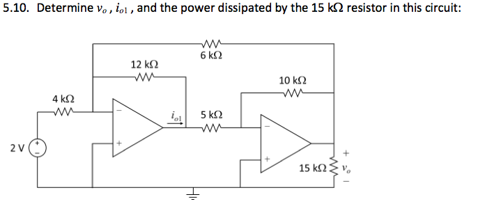 Determine v0, i01, and the power dissipated by the