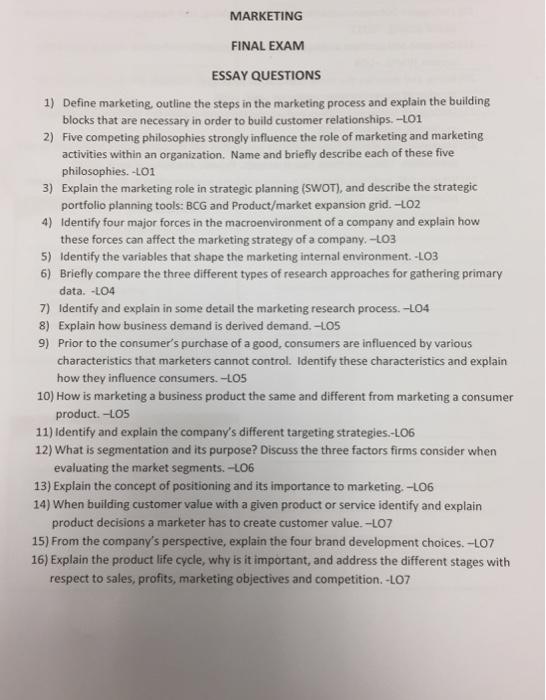 marketing final exam essay questions define mar com marketing final exam essay questions 1 define mar
