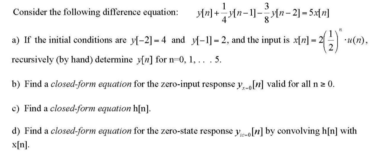 Consider The Following Difference Equation: Y[n] +... | Chegg.com