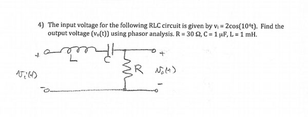 The input voltage for the following RLC circuit is
