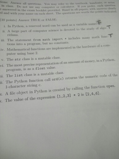 Python homework sheet 1 answers