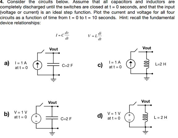 Consider the circuits below. Assume that all capac