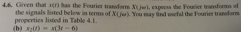 Given that x (t) has the Fourier transform X (j om
