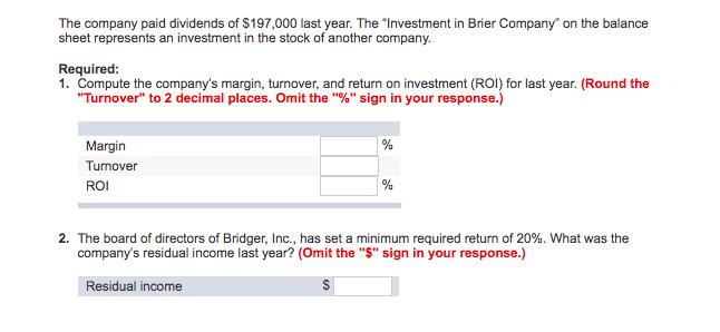 Question: 16.66 points Financial data for Bridger, Inc., for last year are as follows: Bridger, Inc Balance...