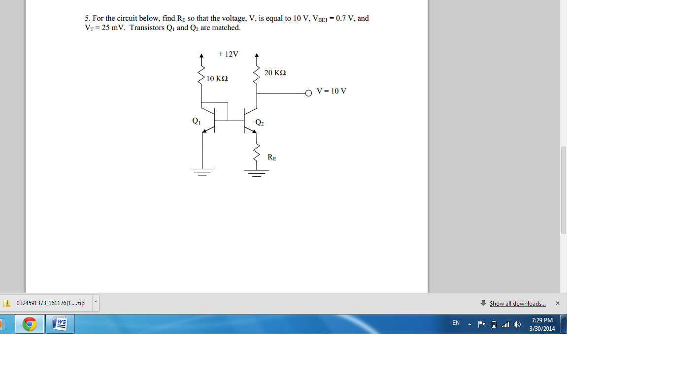 For the circuit below, find Re so that the voltage
