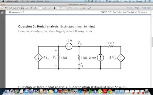 Using nodal analysis, find the voltage V0 in the f