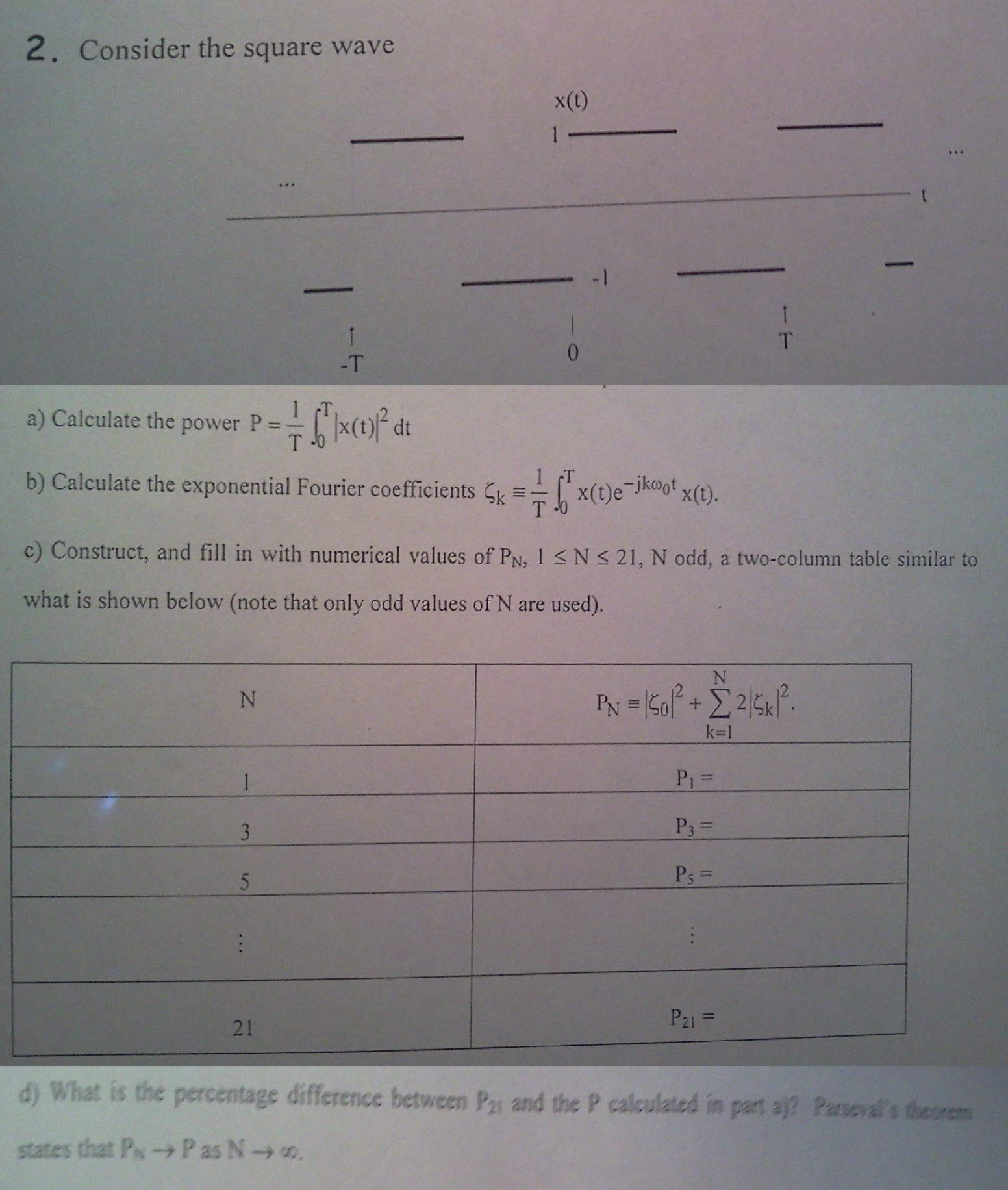 Consider The Square Wave Calculate The Power Calcu